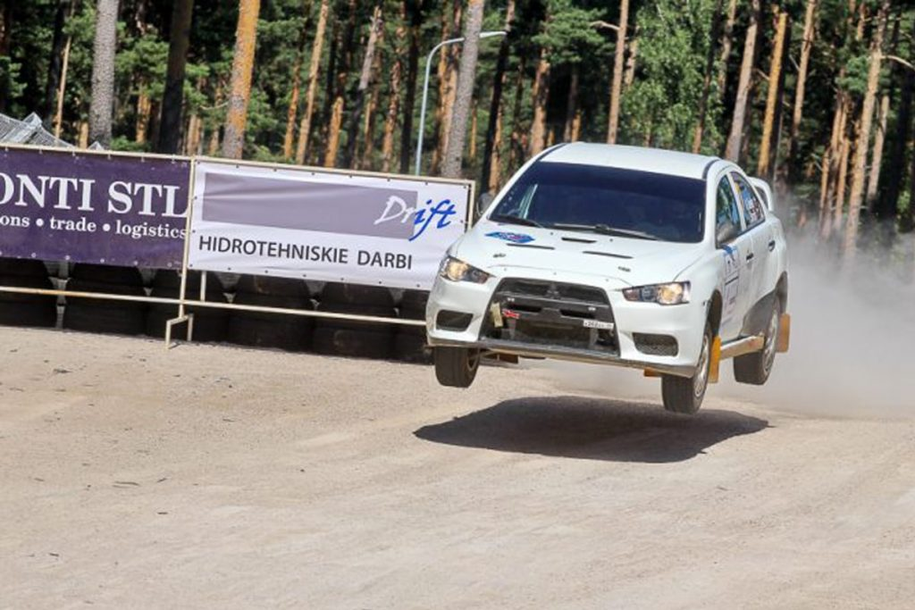 rally car jumping during the rally Latvija 2017